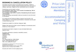 Price List: Association  Members  Accommodation Camping and Visits