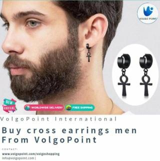 cross earrings men