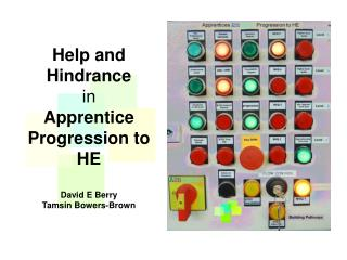 Help and Hindrance in  Apprentice Progression to HE David E Berry Tamsin Bowers-Brown