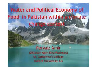 Water and Political Economy of Food  in Pakistan within a climate change context
