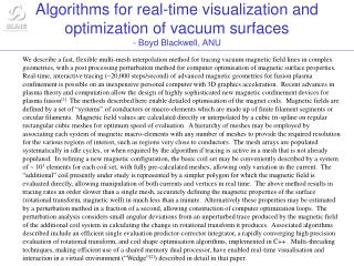 Algorithms for real-time visualization and optimization of vacuum surfaces  - Boyd Blackwell, ANU