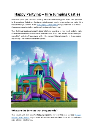 JUMPING CASTLES FOR YOU IN CANBERRA-AUSTRALIA
