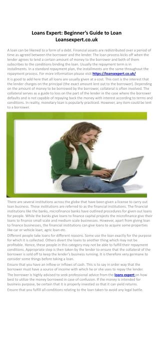 Loans Expert: Beginner's Guide to Loan Loansexpert.co.uk