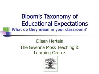 Bloom's Taxonomy of 	Educational Expectations  What do they mean in your classroom?