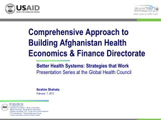 Comprehensive Approach to Building Afghanistan Health Economics  Finance Directorate