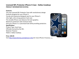 Licensed NFL Protector iPhone 5 Case - Dallas Cowboys