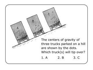 The centers of gravity of three trucks parked on a hill are shown by the dots. Which truck(s) will tip over?