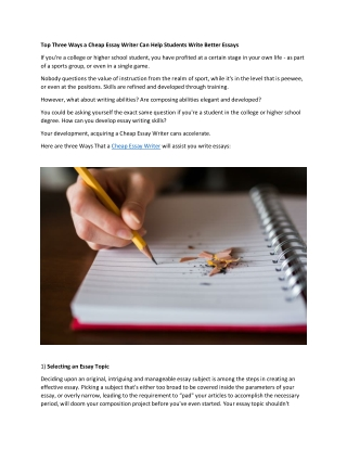 Cheap Essay Writer