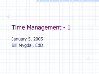 Time Management - 1