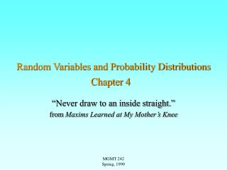 Random Variables and Probability Distributions  Chapter 4