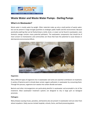 Wide Range of Waste Water Pumps