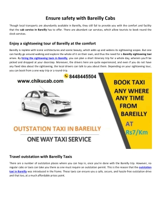 Ensure safety with Bareilly Cabs