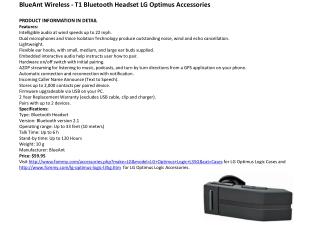 BlueAnt Wireless - T1 Bluetooth Headset LG Optimus Accessori