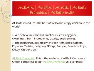 ALBAIK | Al-baik | Al baik | Al baik Franchise | Al baik India