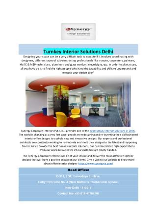 Turnkey Interior Solutions Delhi