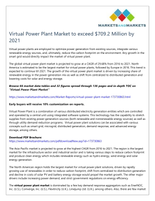 Virtual Power Plant Market to exceed $709.2 Million by 2021