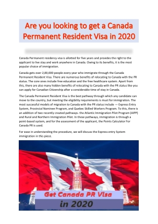 Are you looking to get a Canada Permanent Resident Visa in 2020