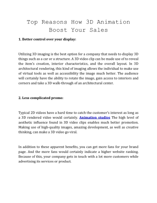 Top Reasons How 3D Animation Boost Your Sales