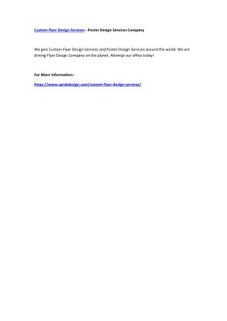 Custom Flyer Design Services - Poster Design Services Company