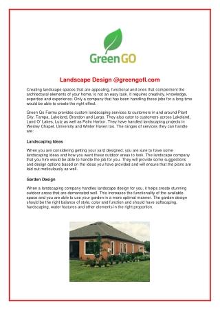 Landscape Design @greengofl.com
