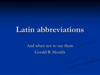 Latin abbreviations