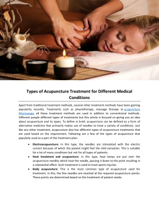 Types of Acupuncture Treatment for Different Medical Conditions