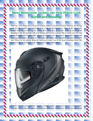 Mens Motorcycle Jackets can Help Riders Look Stylish and Amazing!