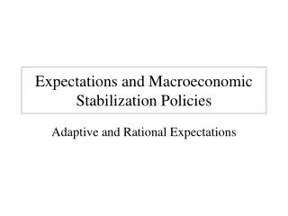Expectations and Macroeconomic Stabilization Policies