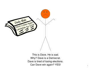 This is Dave. He is sad. Why Dave is a Democrat.  Dave is tired of losing elections. Can Dave win again YES