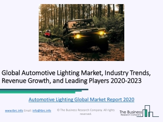Global Automotive Lighting Market, Industry Trends, Revenue Growth, Key Players Till 2023