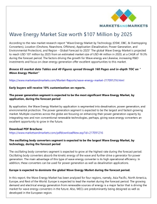 Wave Energy Market Size worth $107 Million by 2025