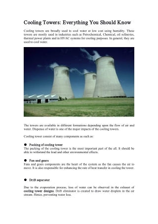Cooling Towers: Everything You Should Know