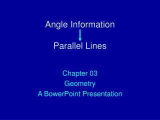 Angle Information Parallel Lines