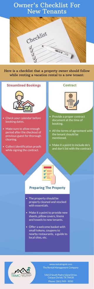 Owner's Checklist For New Tenants