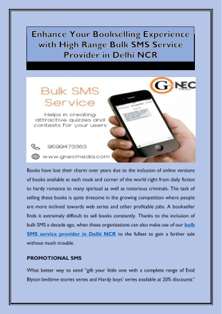 Enhance Your Bookselling Experience with High Range Bulk SMS Service Provider in Delhi NCR