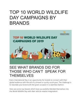 TOP 10 WORLD WILDLIFE DAY CAMPAIGNS BY BRANDS