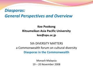 Diasporas:  General Perspectives and Overview