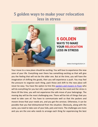 5 golden ways to make your relocation less in stress