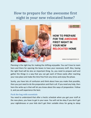 How to Prepare for the Awesome First Night in Your New Relocated Home