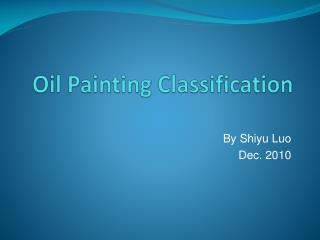 Oil Painting Classification