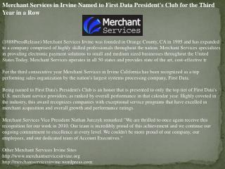 Merchant Services in Irvine Named to First Data President's