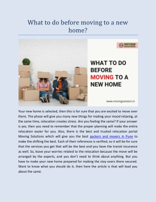 What to do before moving to a new home?