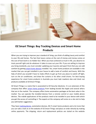 OZ Smart Things: Buy Tracking Devices and Smart Home Products