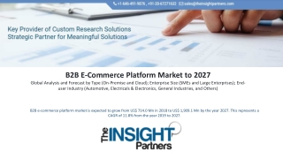 B2B E-Commerce Platform Market is expected to reach US$ 10.08 Bn in 2027