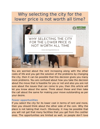 Why selecting the city for the lower price is not worthy all time