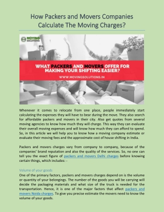 How Packers and Movers Companies Calculate The Moving Charges?