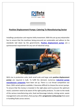 Positive displacement pumps catering to manufacturing sector