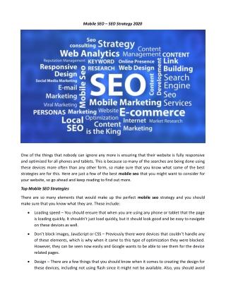Mobile SEO – SEO Strategy 2020