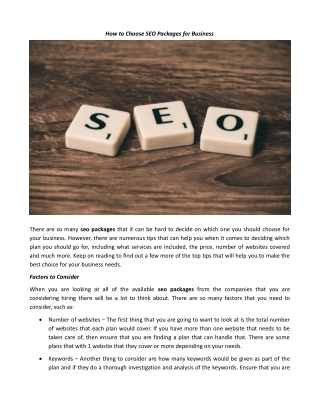 HOW TO CHOOSE SEO PACKAGES FOR BUSINESS