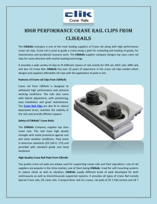 High Performance Crane Rail Clips From Clikrails
